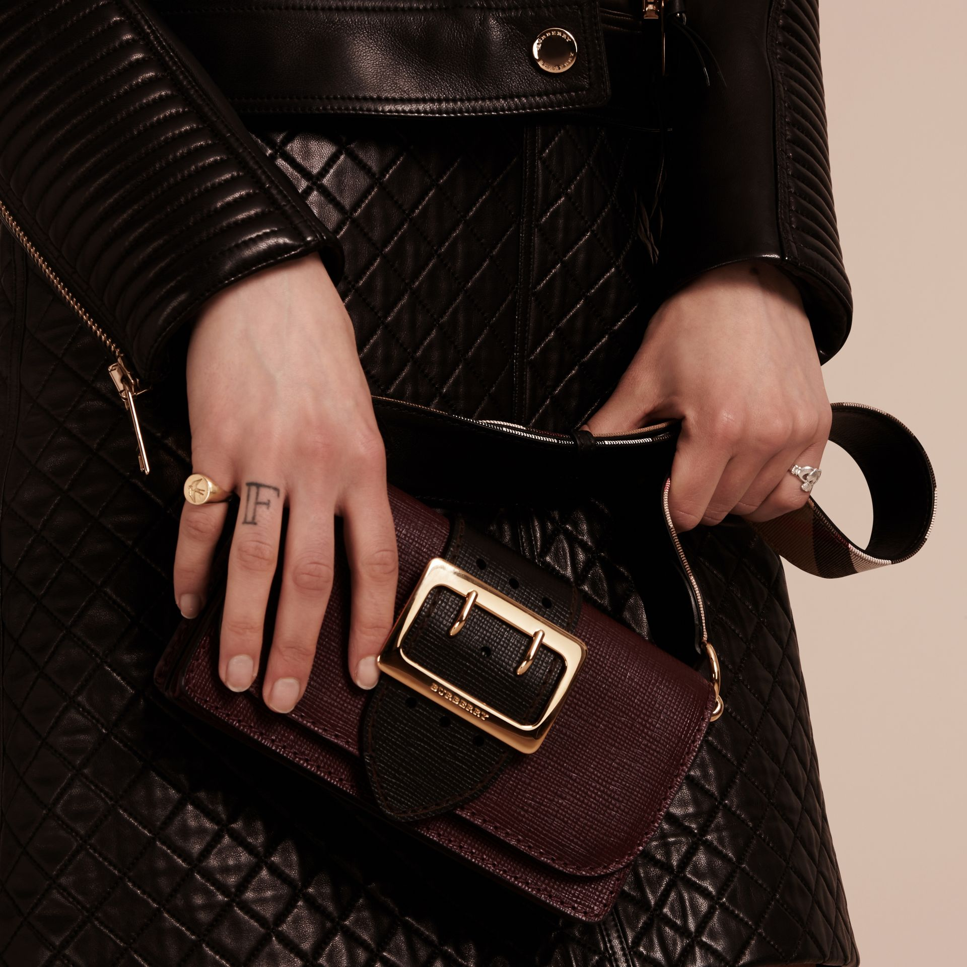 The Small Buckle Bag in Textured Leather in Burgundy/black - gallery image 4
