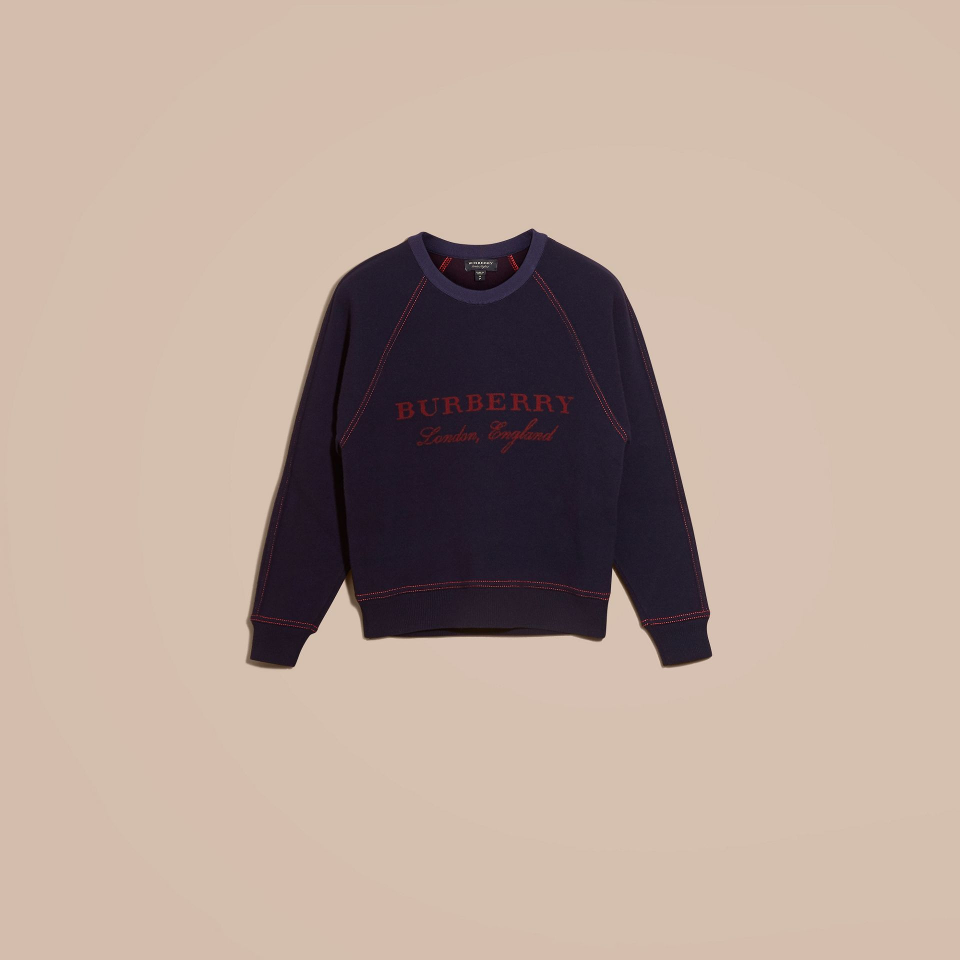 Navy/deep red Wool Cashmere Sculpted Sweatshirt Navy/deep Red - gallery image 4