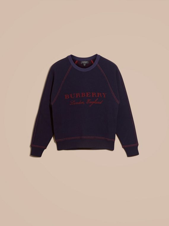 Navy/deep red Wool Cashmere Sculpted Sweatshirt Navy/deep Red - cell image 3