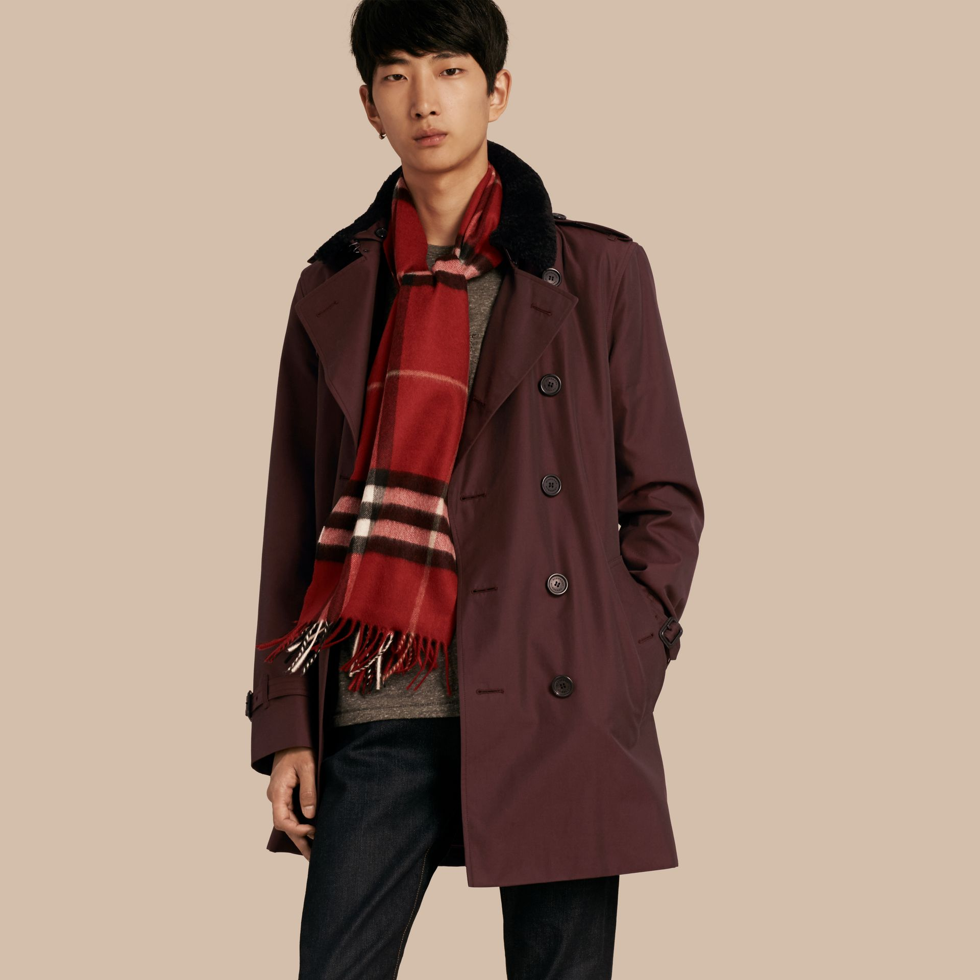 Detachable Shearling Topcollar Cotton Gabardine Trench Coat with Warmer in Mahogany Red - gallery image 1