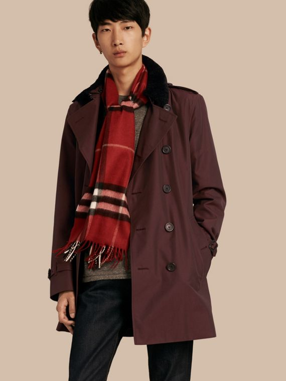 Shearling Topcollar Cotton Gabardine Trench Coat with Warmer Mahogany Red