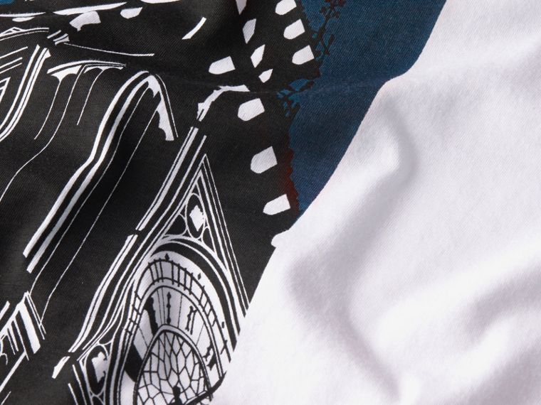 Bianco T-shirt in cotone con stampa Big Ben - cell image 1