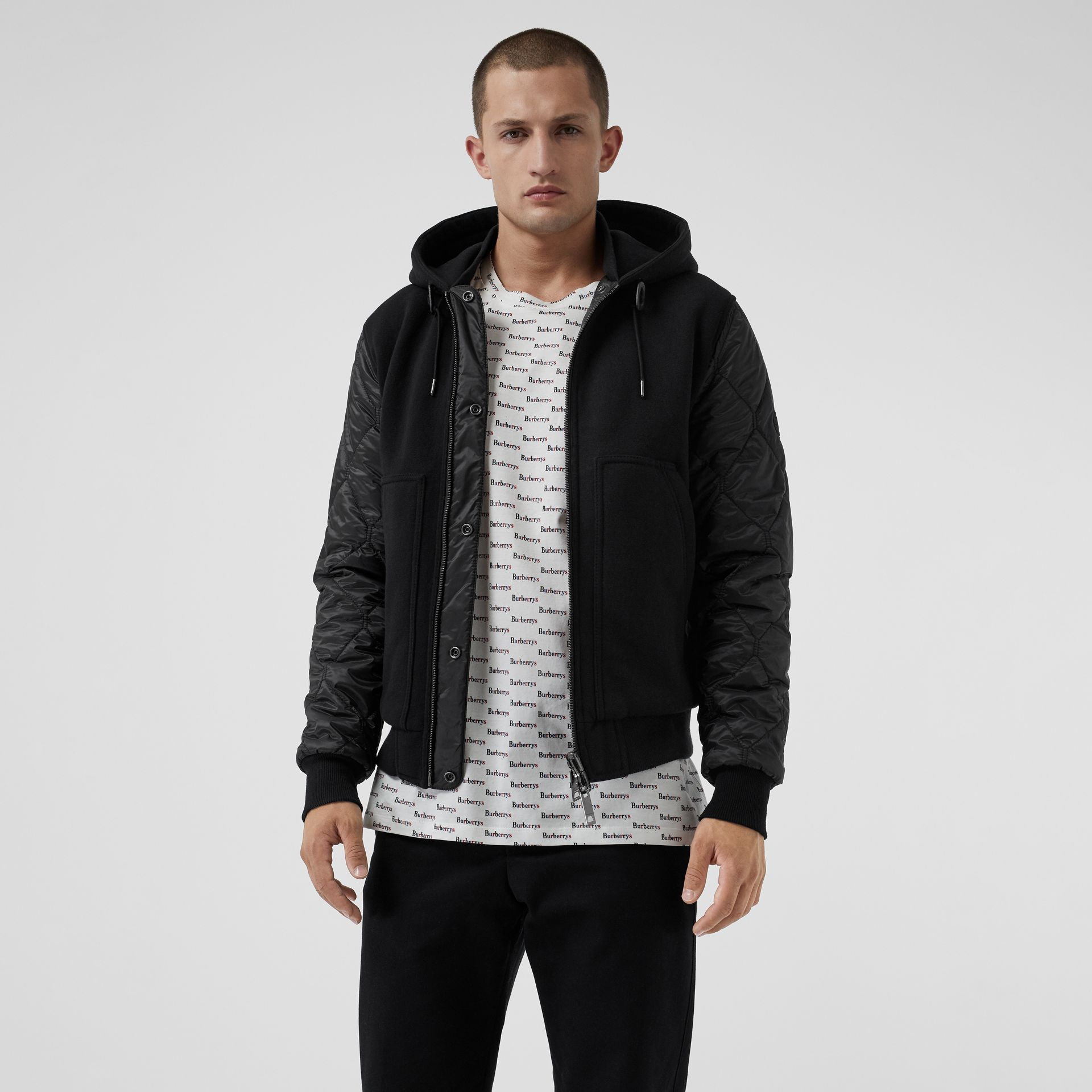 Reversible Diamond Quilted Hooded Jacket in Black - Men | Burberry - gallery image 5