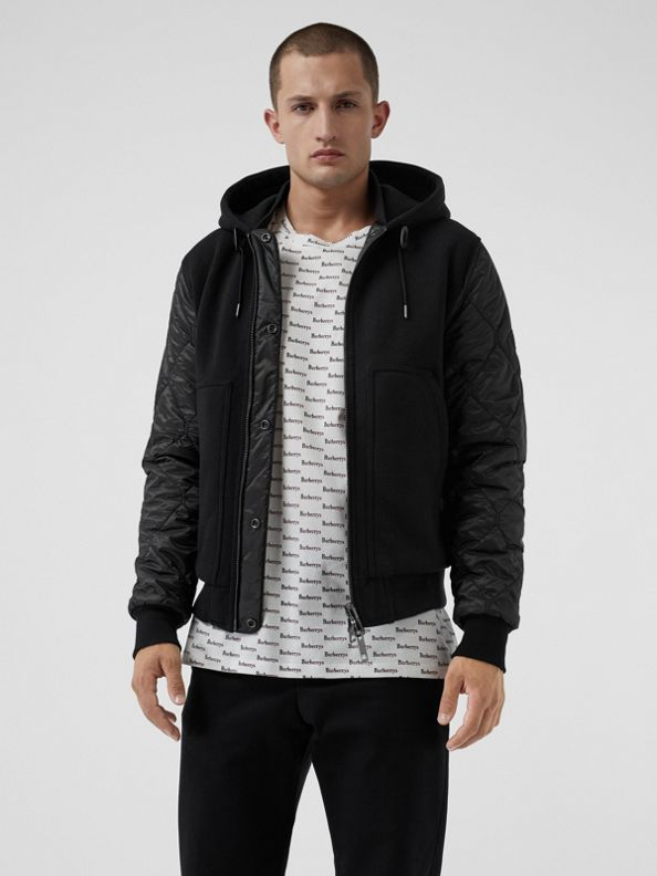Reversible Diamond Quilted Hooded Jacket in Black