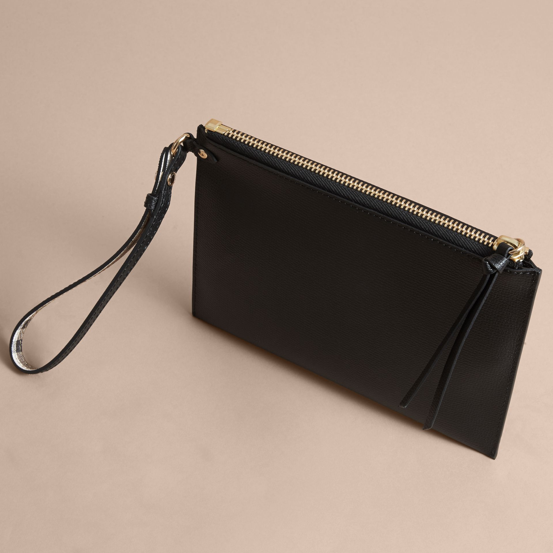 Haymarket Check and Leather Pouch in Black - gallery image 4