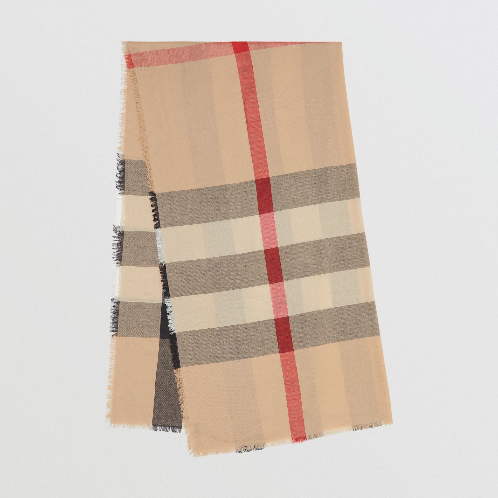 Fringed Check Cashmere Scarf in Camel | Burberry - gallery image 0