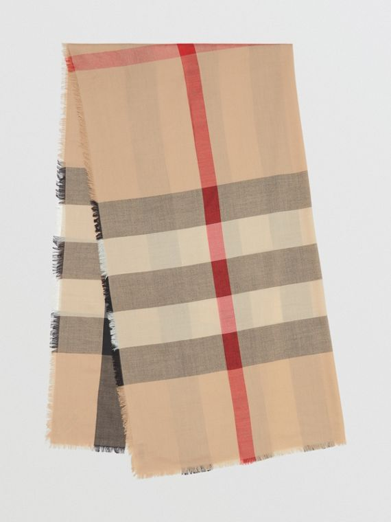Fringed Check Cashmere Scarf in Camel