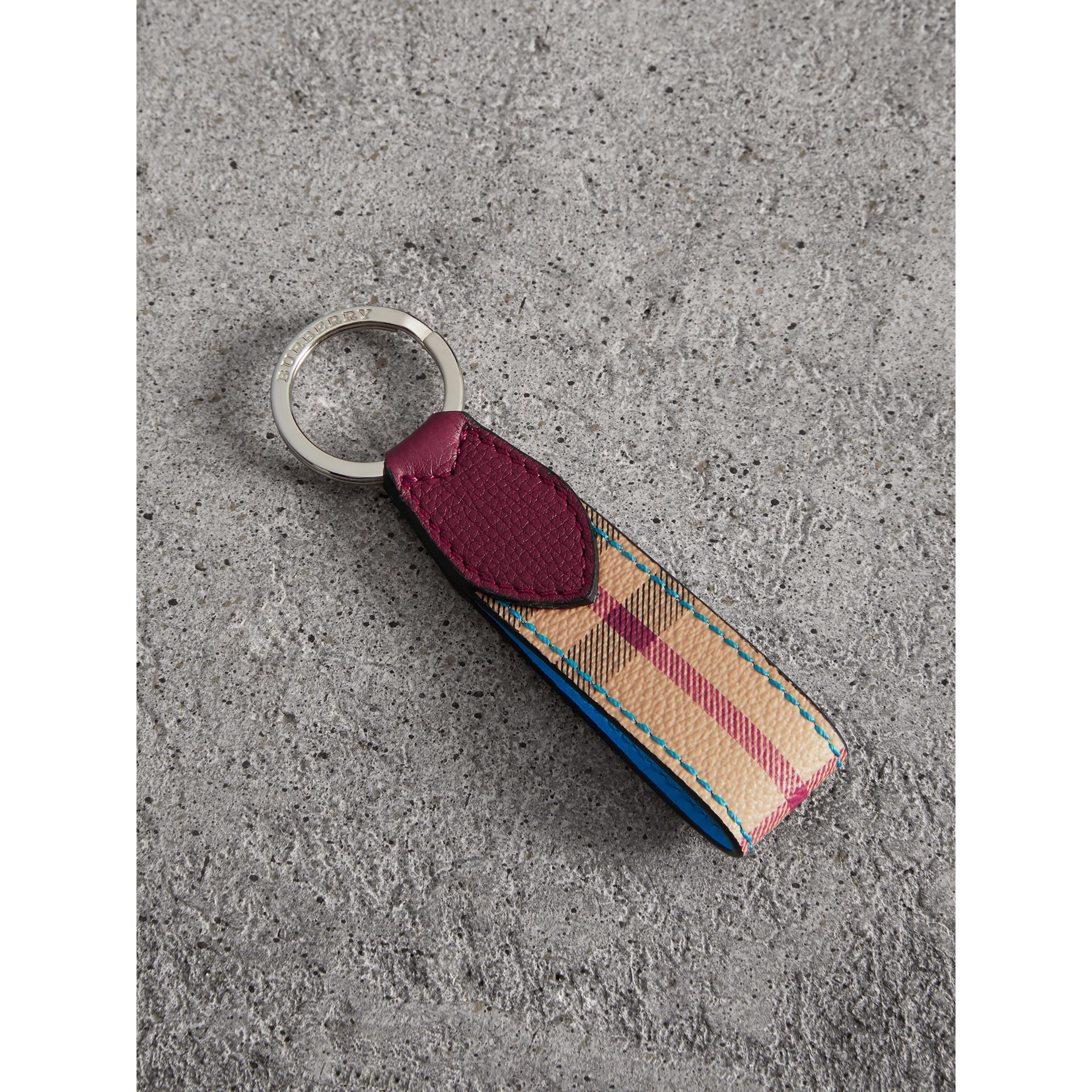 Haymarket Check and Two-tone Leather Key Ring in Bright Blue | Burberry - gallery image 0