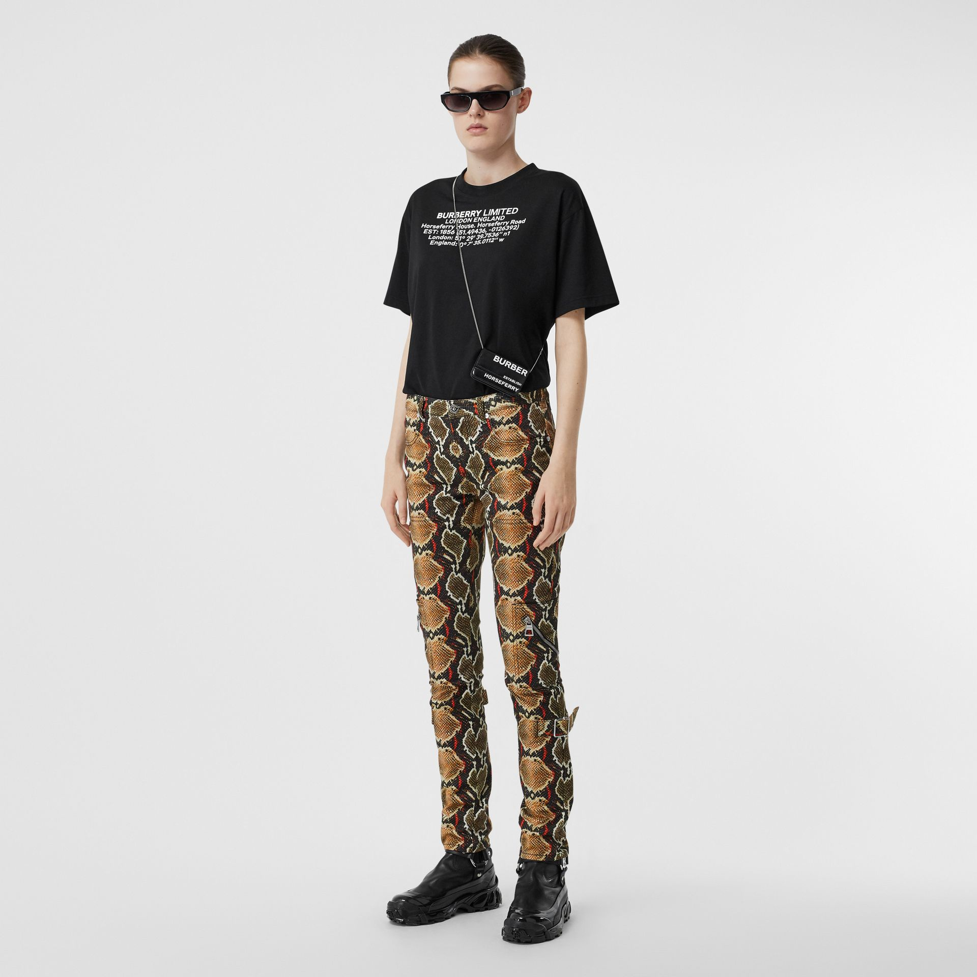 Skinny Fit Python Print Jeans in Soft Cocoa - Women | Burberry - gallery image 0