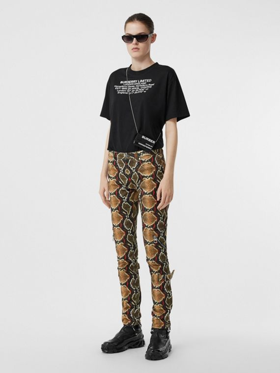 Skinny Fit Python Print Jeans in Soft Cocoa