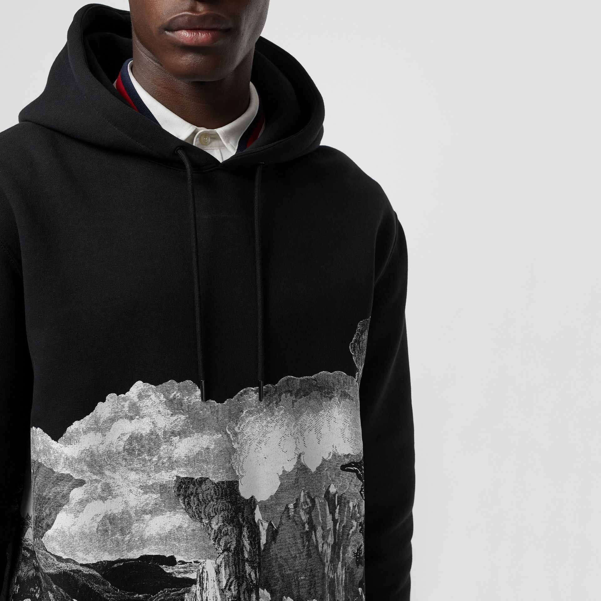 Dreamscape Print Cotton Blend Hoodie in Black - Men | Burberry Singapore - gallery image 1