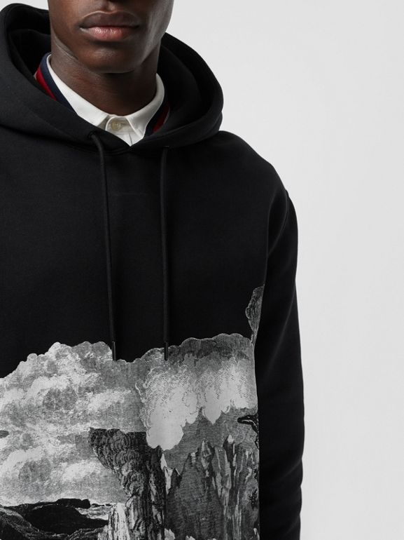 Dreamscape Print Cotton Blend Hoodie in Black - Men | Burberry Singapore - cell image 1