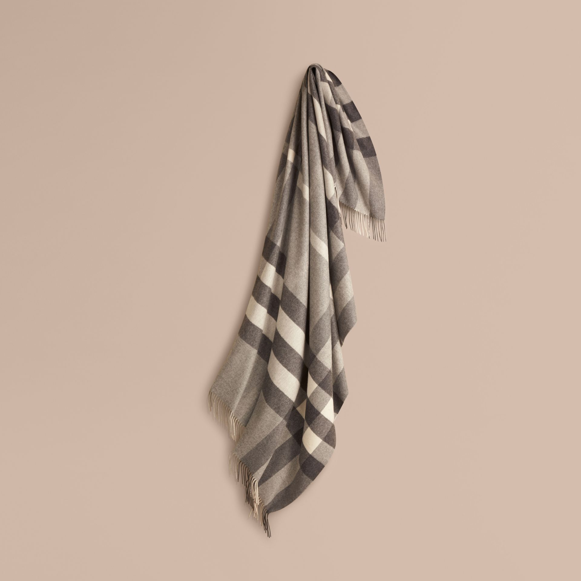Check Cashmere Blanket Pale Grey - gallery image 1