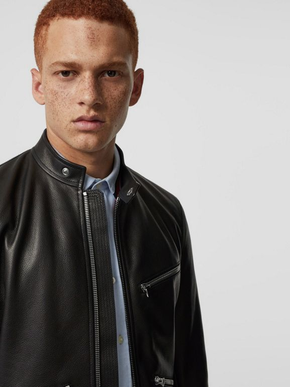 Zip Detail Leather Jacket in Black - Men | Burberry - cell image 1