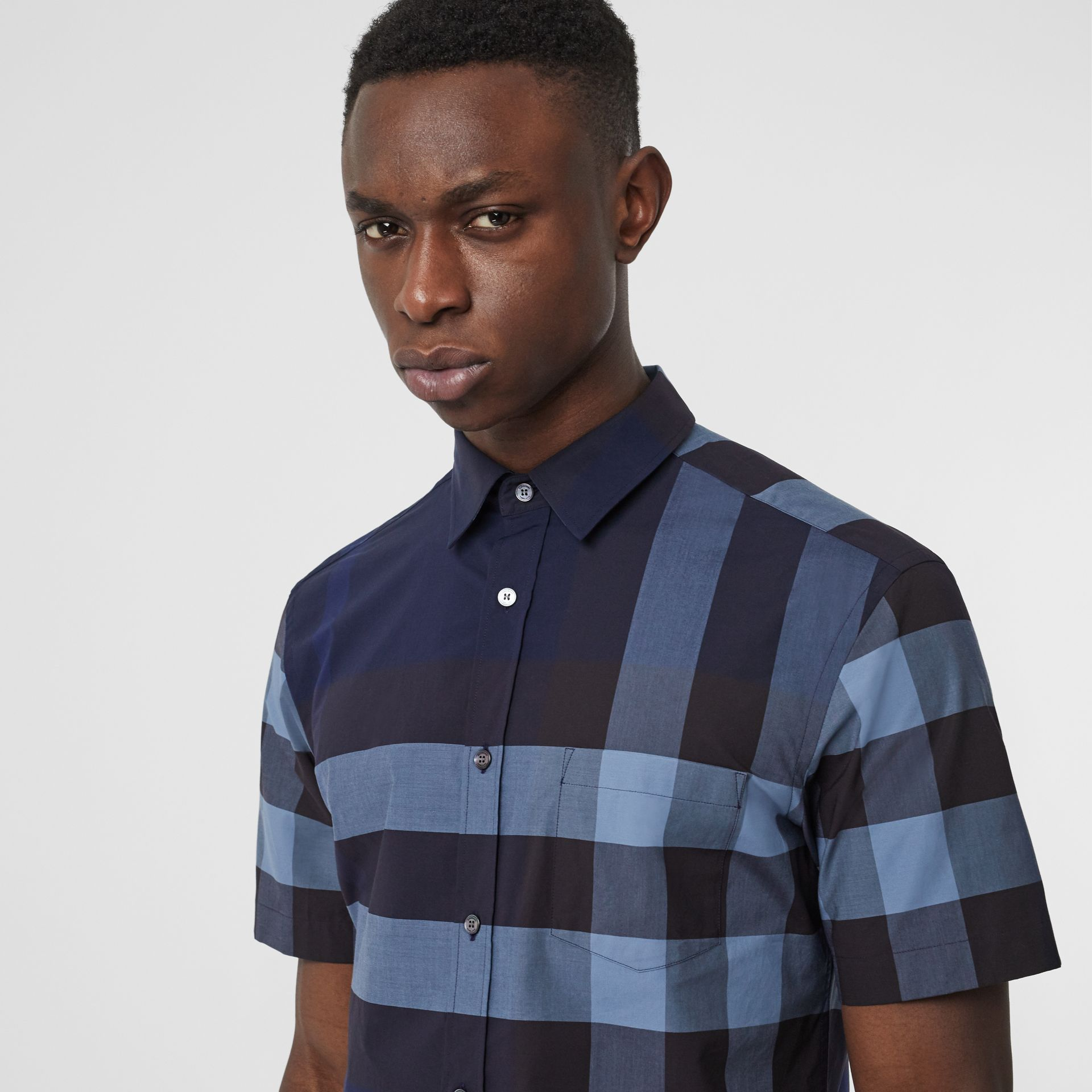 Short-sleeve Check Stretch Cotton Shirt in Bright Navy - Men | Burberry Australia - gallery image 1