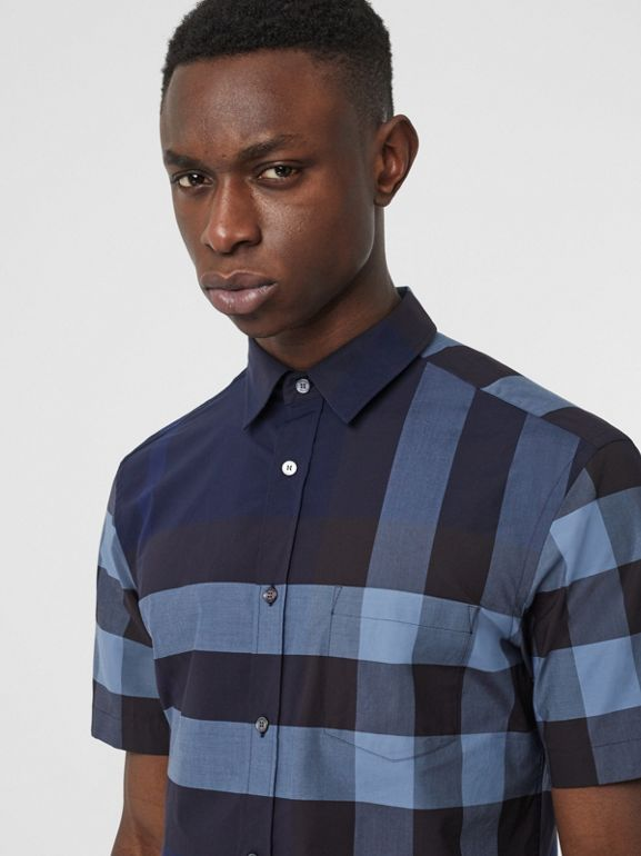 Short-sleeve Check Stretch Cotton Shirt in Bright Navy - Men | Burberry - cell image 1