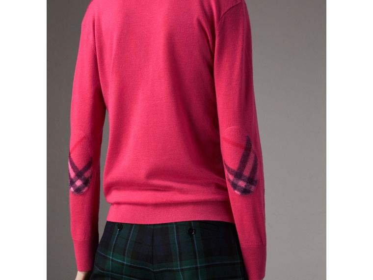 Check Detail Cashmere V-neck Sweater in Bright Pink - Women | Burberry - cell image 1