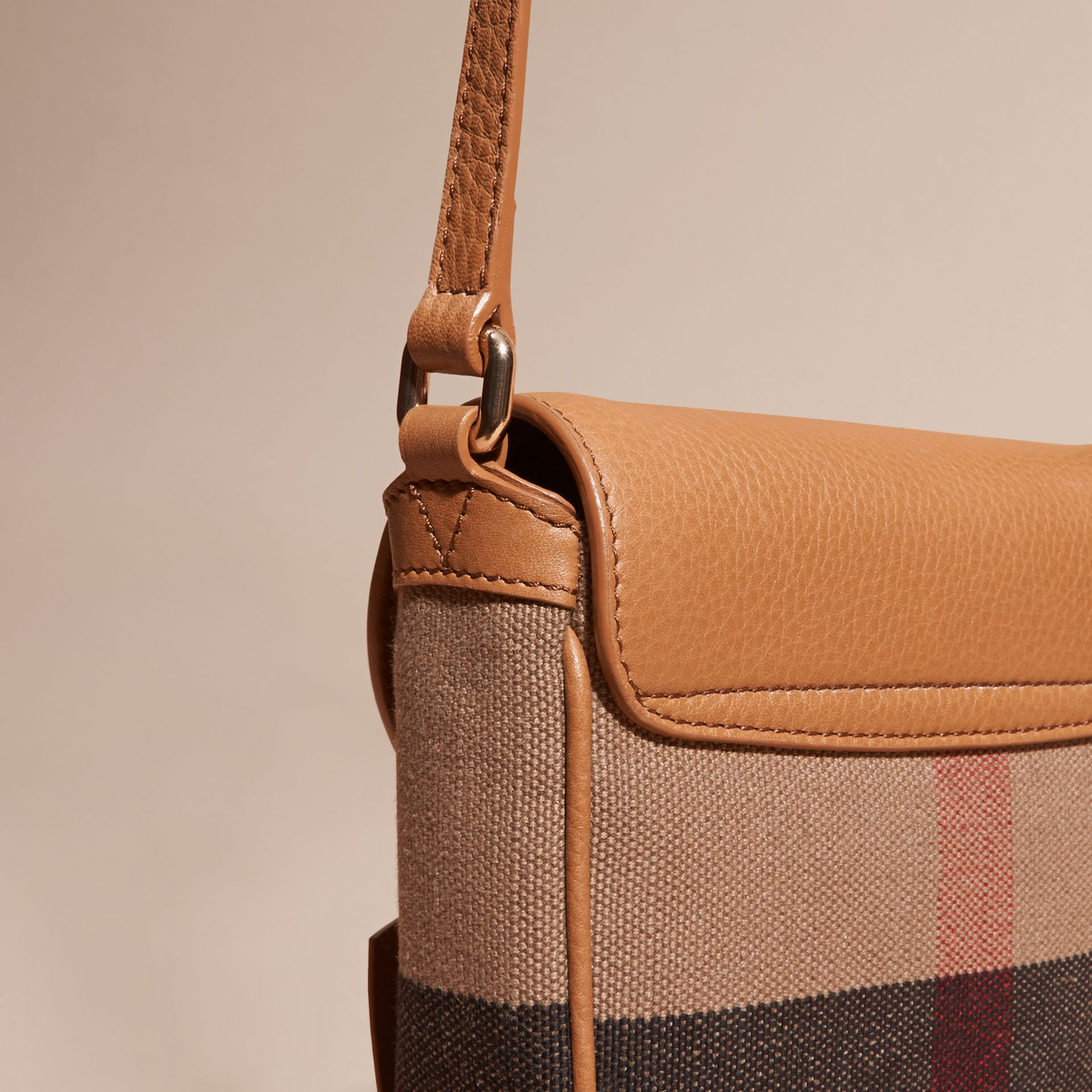 Sand Canvas Check Leather Crossbody Bag - gallery image 6