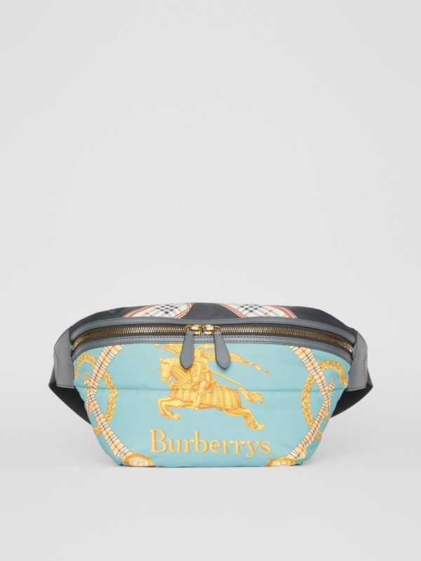 Large Archive Scarf Print Bum Bag in Pale Stone Blue - Men | Burberry United States - cell image 2