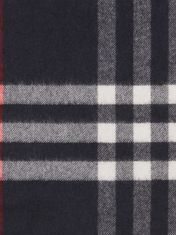The Classic Check Cashmere Scarf in Navy | Burberry United States - cell image 1