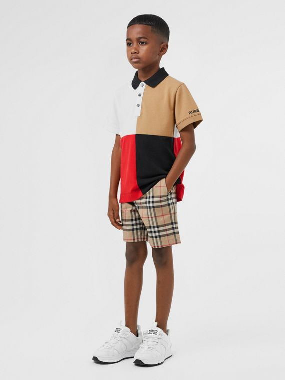 Polo color-block en coton (Beige D'archive)