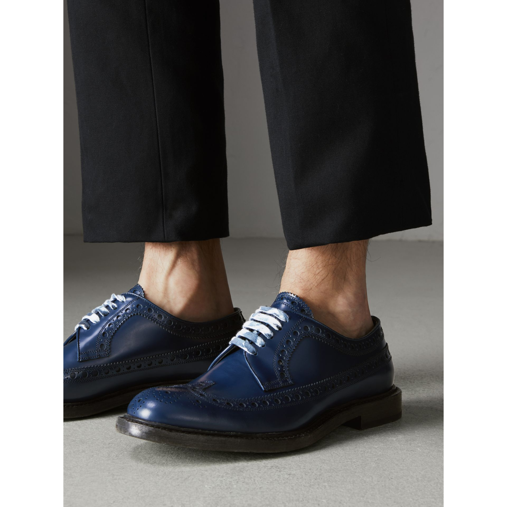 Leather Brogues with Painted Laces in Navy - Men | Burberry United States - gallery image 2