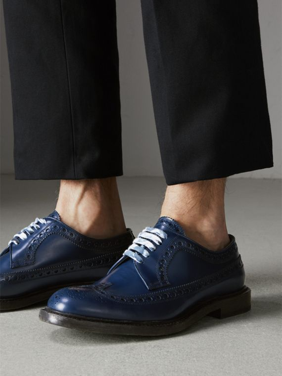 Leather Brogues with Painted Laces in Navy - Men | Burberry Singapore - cell image 2