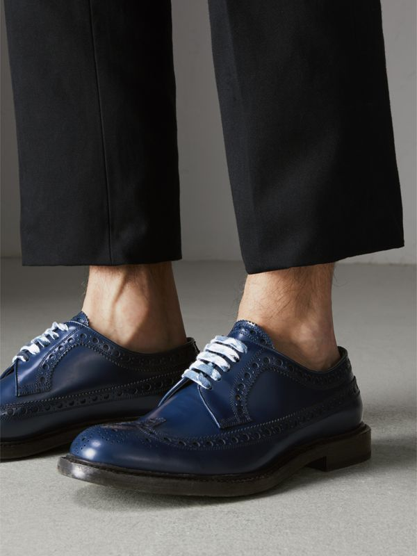 Leather Brogues with Painted Laces in Navy - Men | Burberry - cell image 2