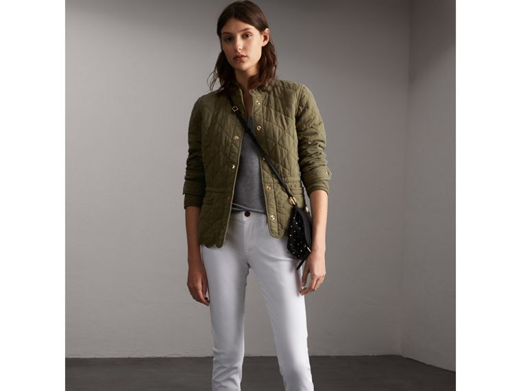 Scalloped Diamond Quilted Cotton Jacket in Olive - Women | Burberry - cell image 4