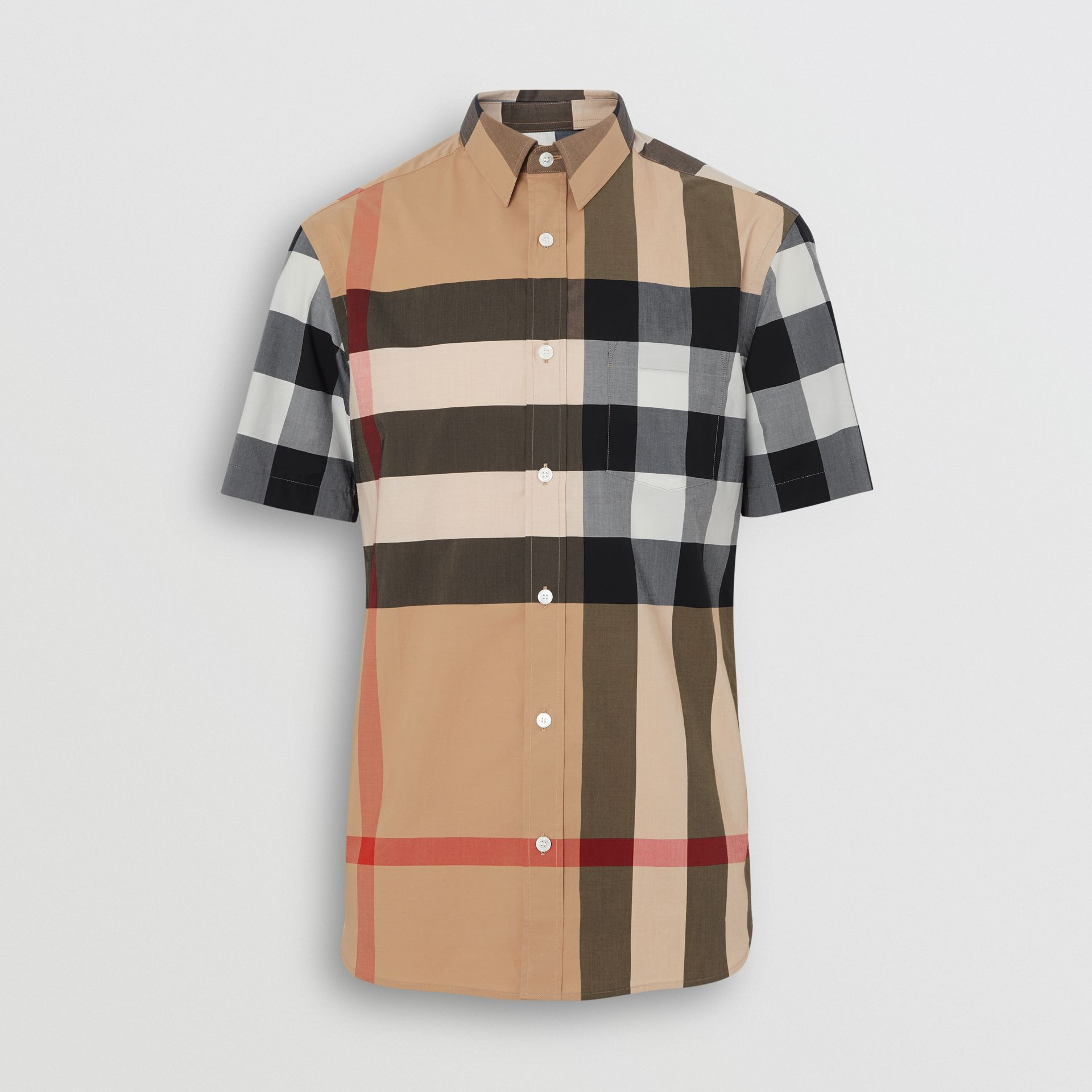 Short-sleeve Check Stretch Cotton Shirt in Camel - Men | Burberry Singapore - gallery image 3