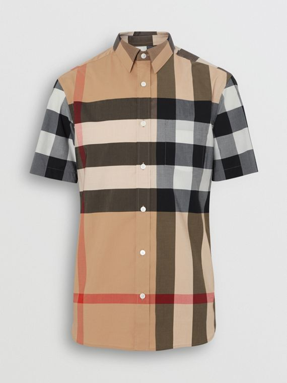 Short-sleeve Check Stretch Cotton Shirt in Camel