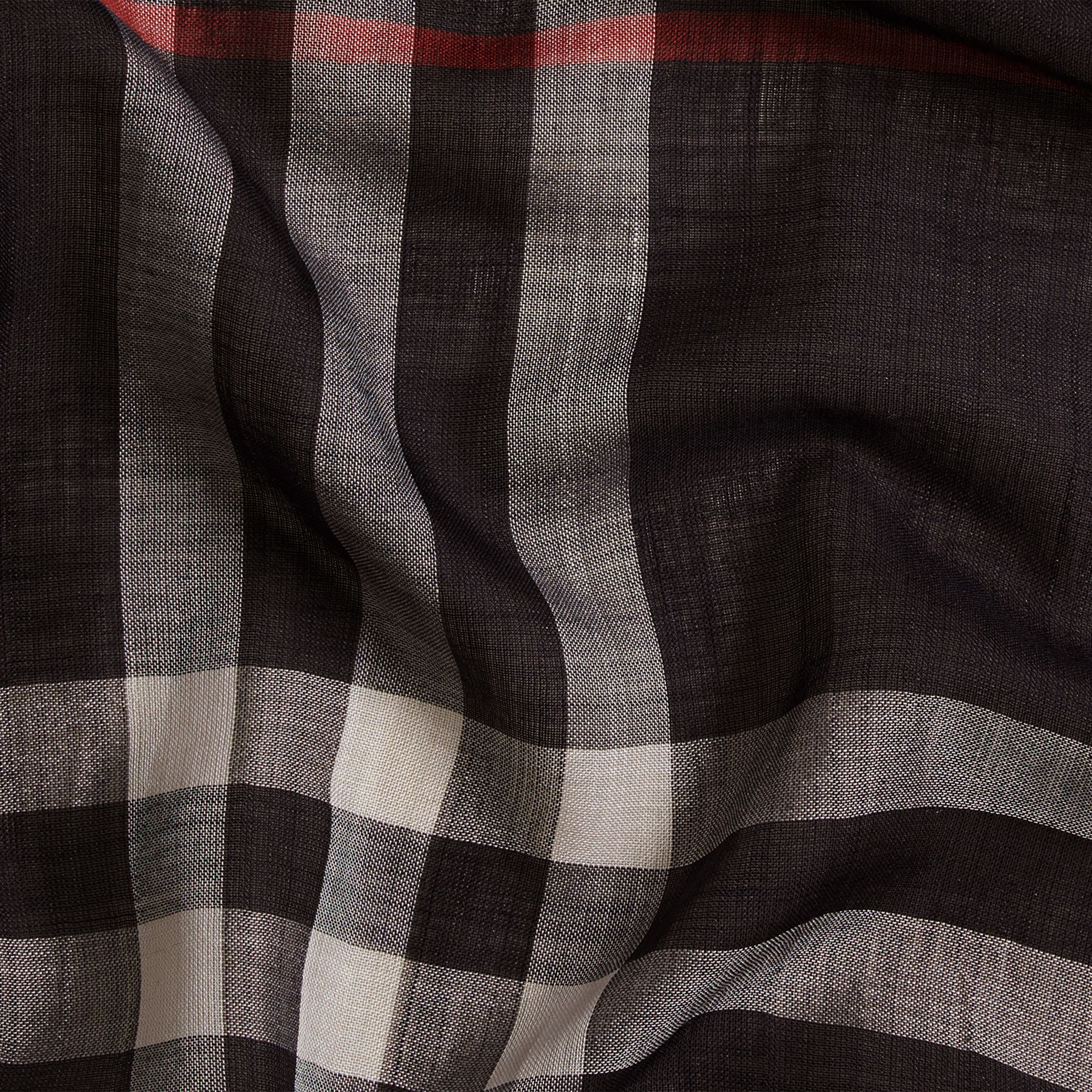 Lightweight Check Wool and Silk Scarf in Navy | Burberry - gallery image 2
