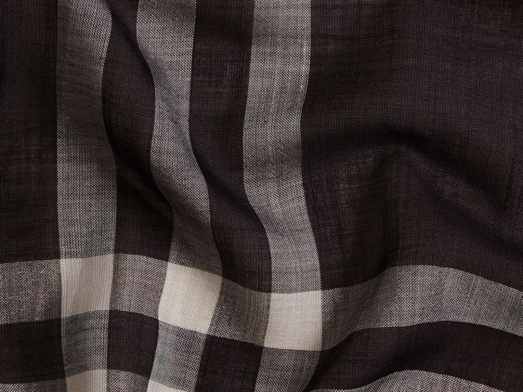 Lightweight Check Wool and Silk Scarf Navy - cell image 1