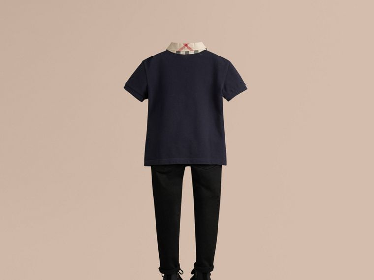 Check Collar Polo Shirt in True Navy - Boy | Burberry - cell image 2