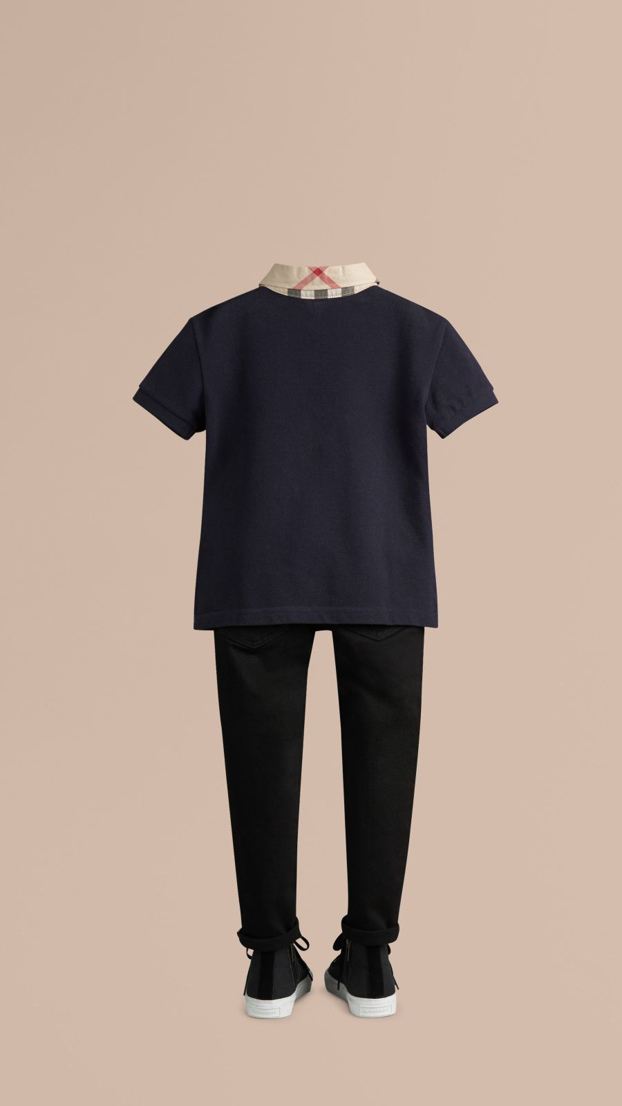 True navy Check Collar Polo Shirt True Navy - Image 3