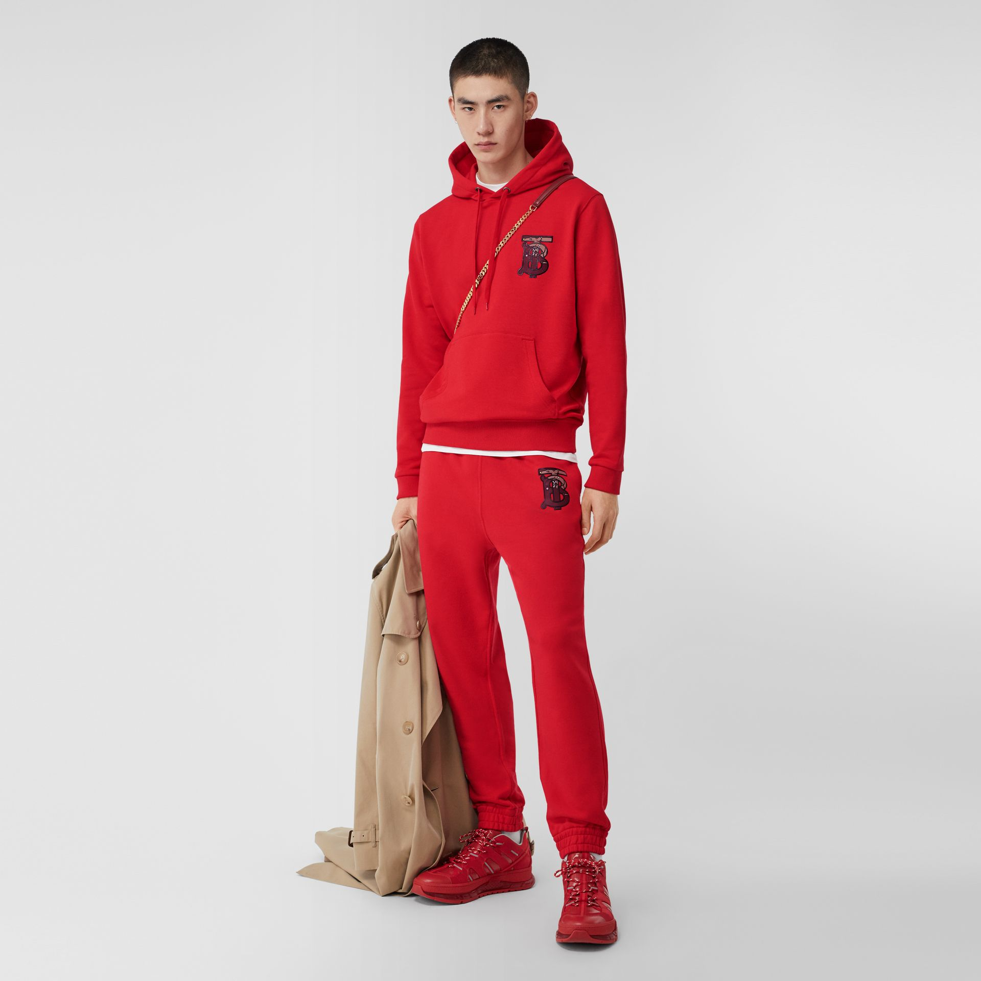 Monogram Motif Cotton Oversized Hoodie in Bright Red - Men | Burberry United Kingdom - gallery image 0