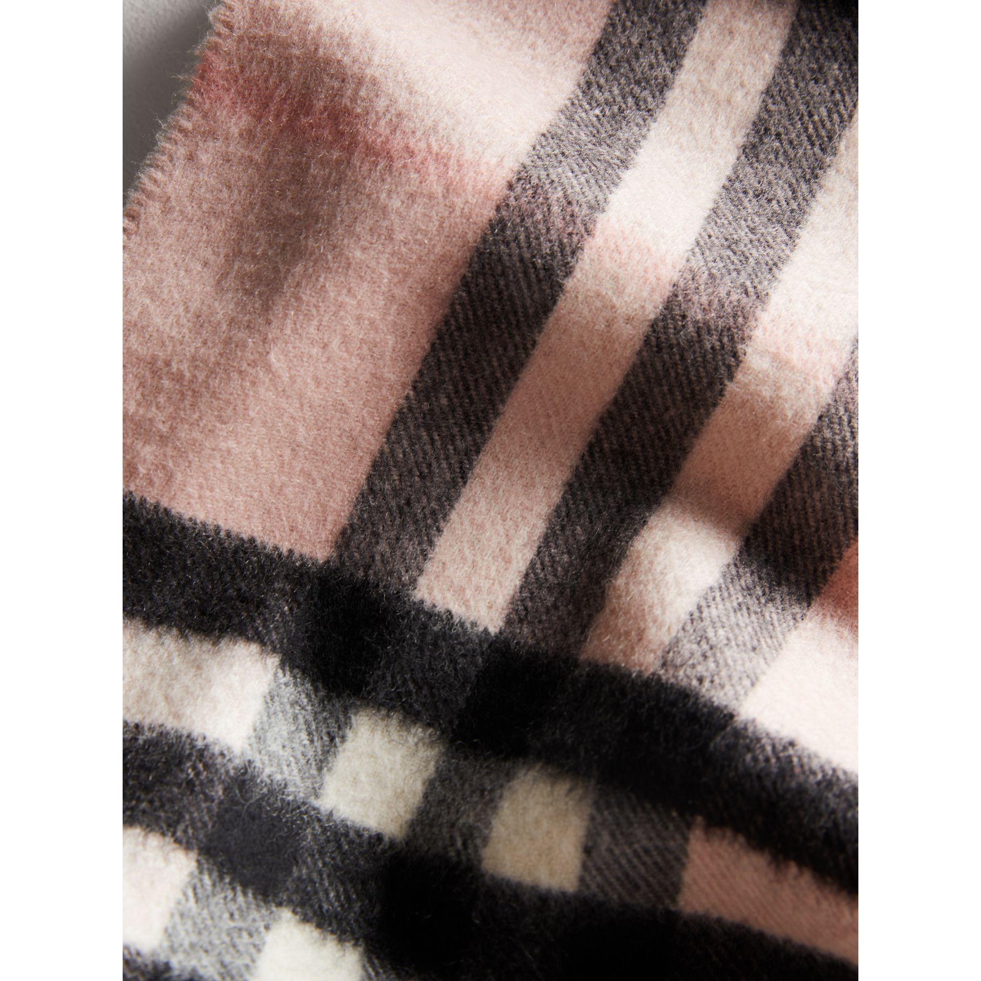 The Mini Classic Check Cashmere Scarf in Ash Rose | Burberry Australia - gallery image 1