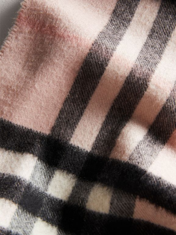 The Mini Classic Check Cashmere Scarf in Ash Rose | Burberry Australia - cell image 1