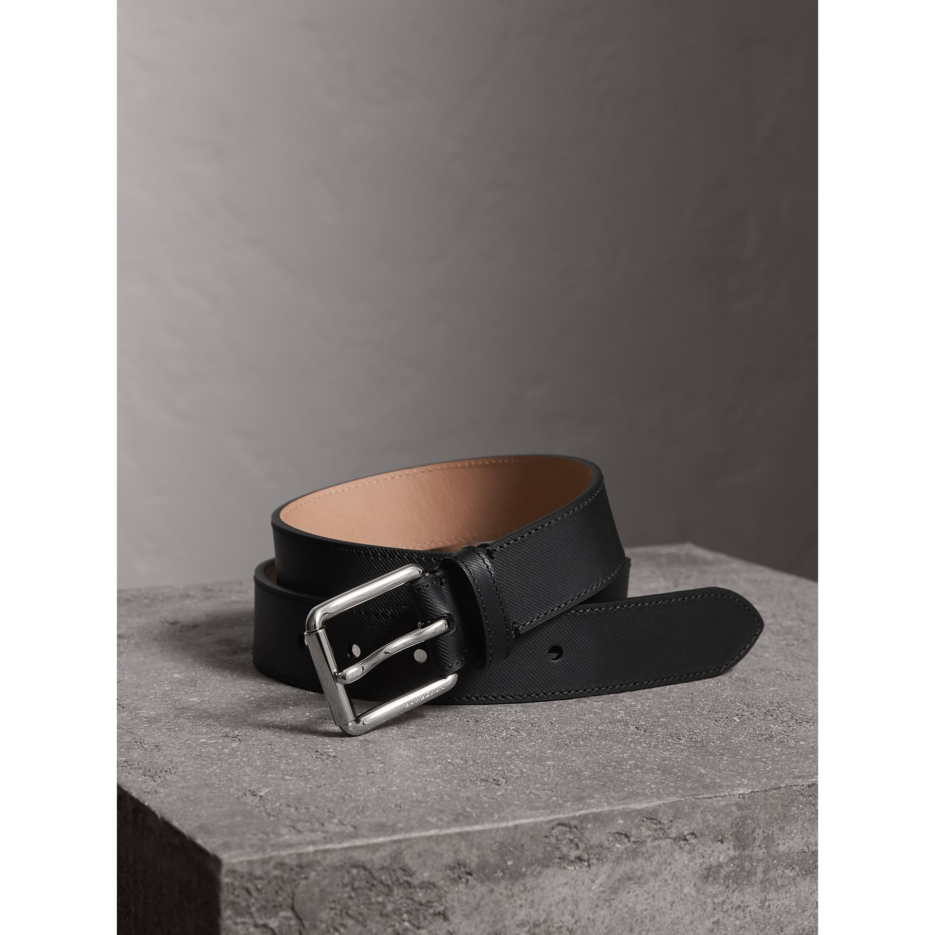 Trench Leather Belt in Black - Men | Burberry United Kingdom - gallery image 0
