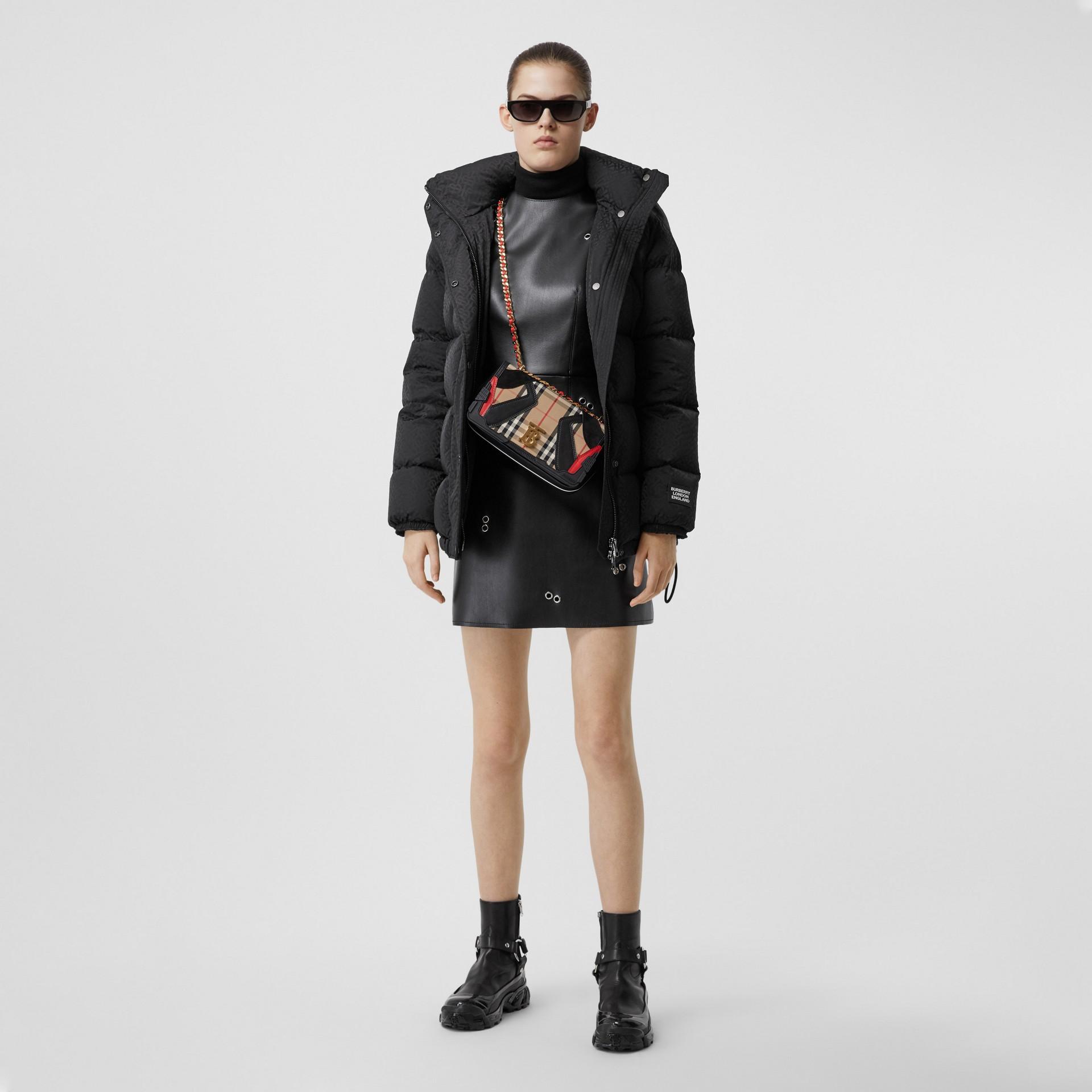Detachable Hood Monogram ECONYL® Puffer Jacket in Black - Women | Burberry - gallery image 0