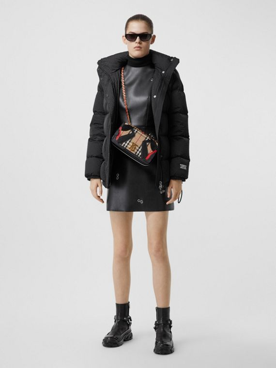 Detachable Hood Monogram ECONYL® Puffer Jacket in Black