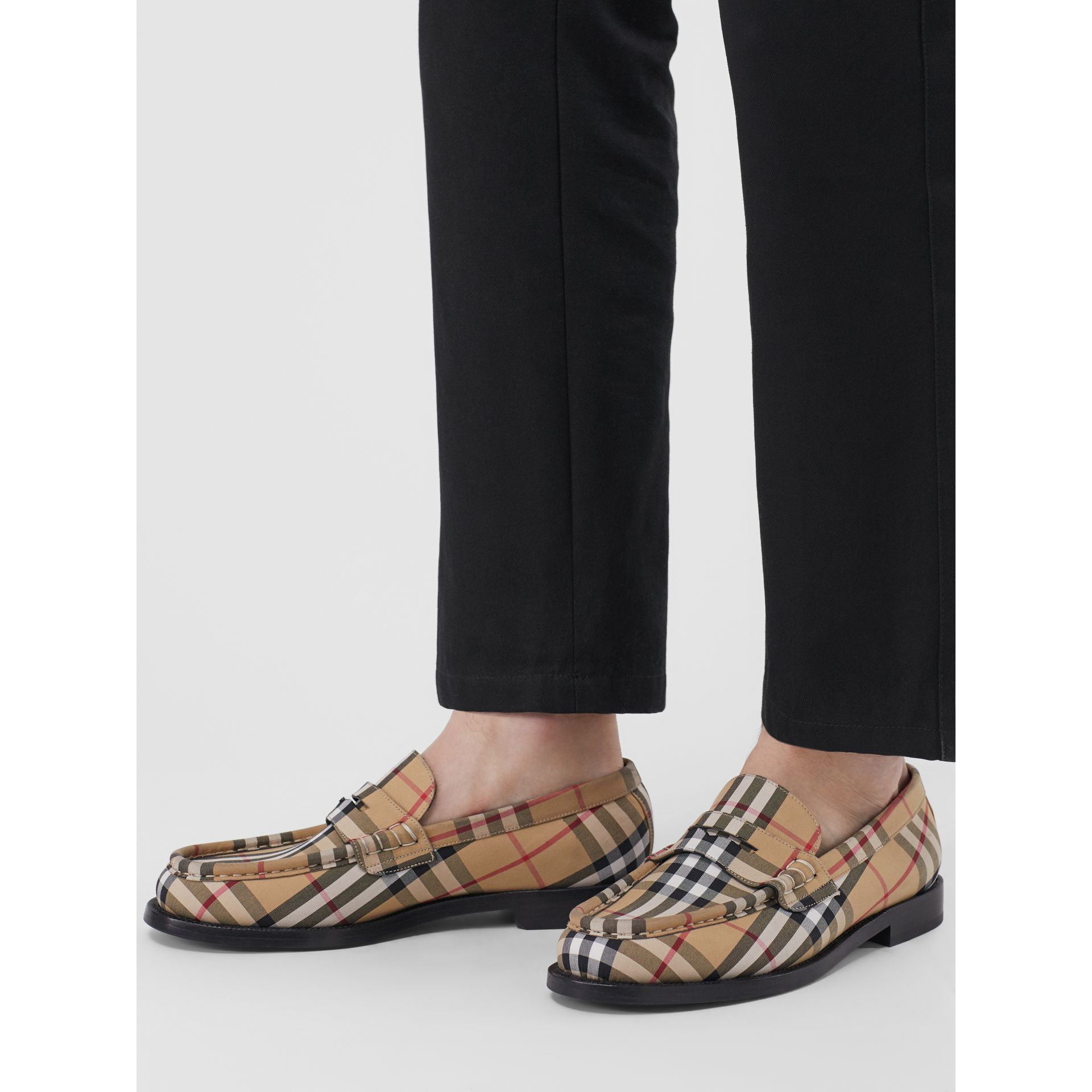 Vintage Check Cotton Loafers in Antique Yellow - Men | Burberry Singapore - gallery image 2
