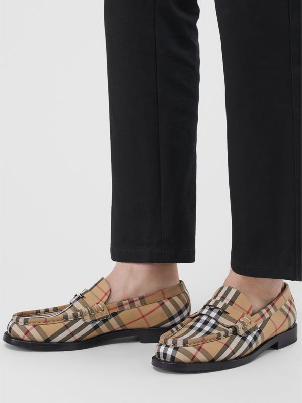 Vintage Check Cotton Loafers in Antique Yellow - Men | Burberry Singapore - cell image 2
