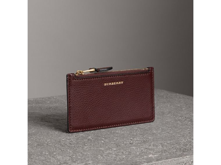 Two-tone Leather Zip Card Case in Deep Claret | Burberry - cell image 4