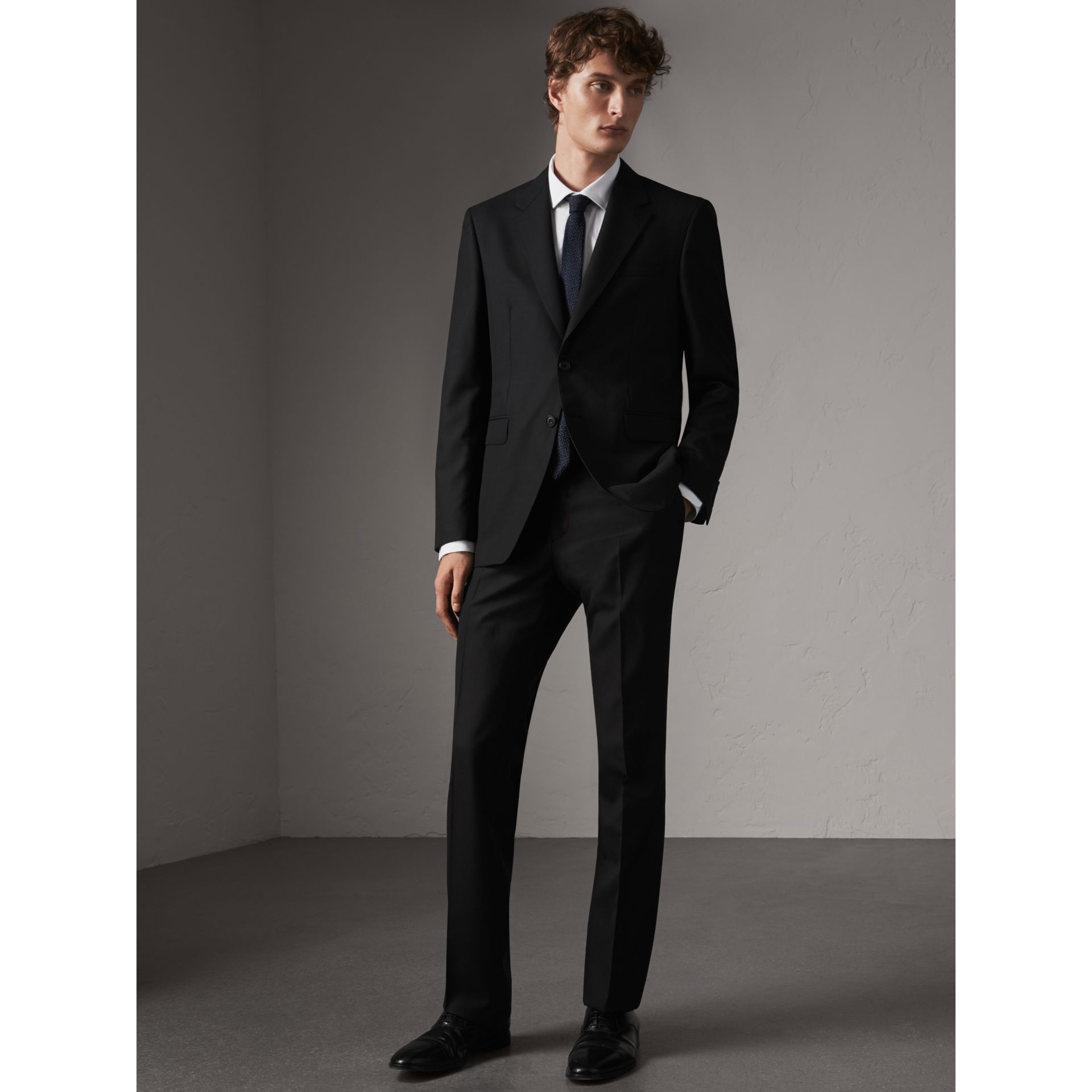 Classic Fit Wool Part-canvas Suit in Black - Men | Burberry - gallery image 0