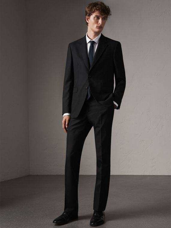 Classic Fit Wool Part-canvas Suit in Black
