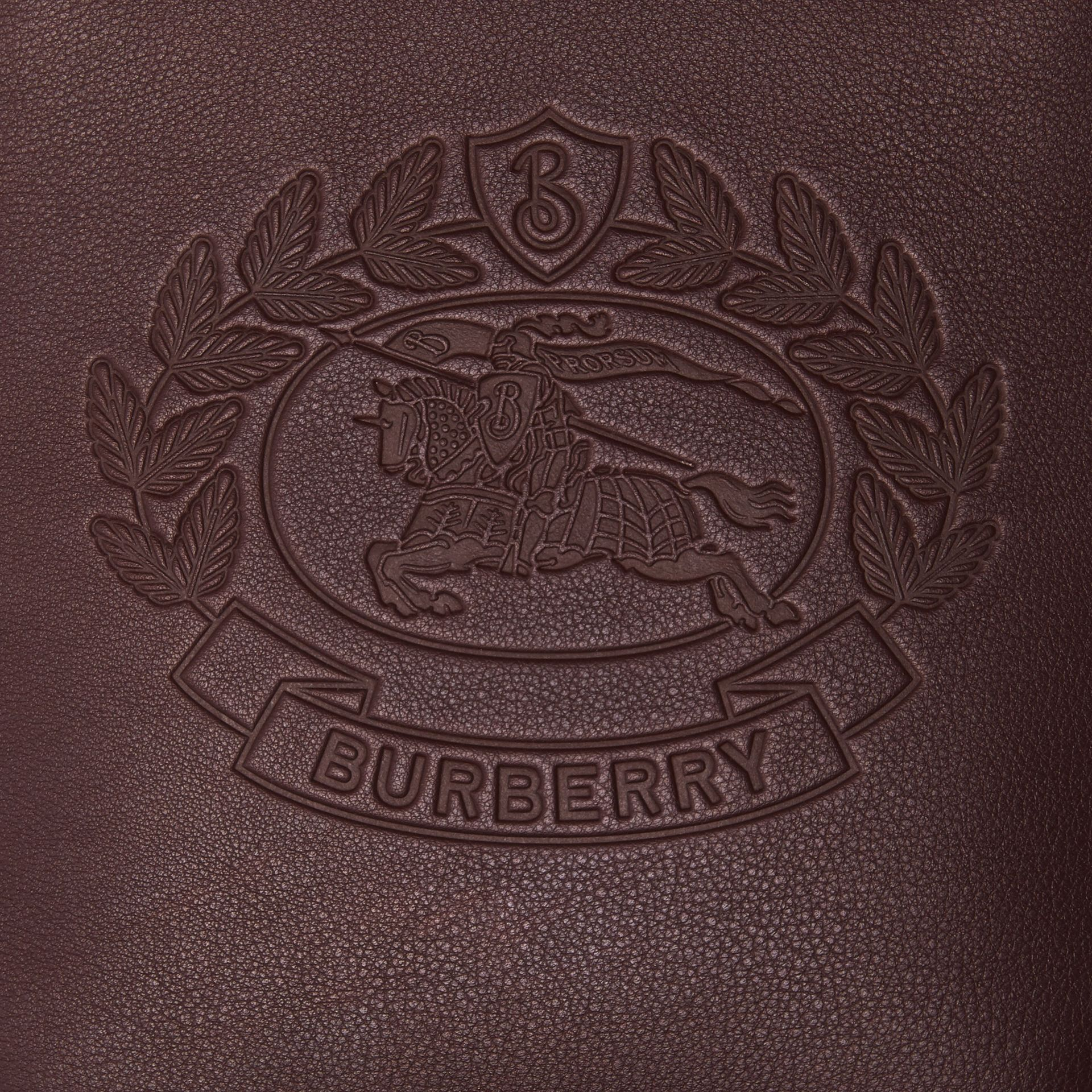 Small Embossed Crest Leather Crossbody Bag in Oxblood - Men | Burberry - gallery image 1