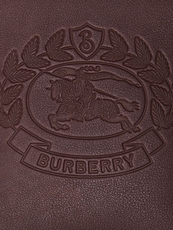 Small Embossed Crest Leather Crossbody Bag in Oxblood - Men | Burberry - cell image 1