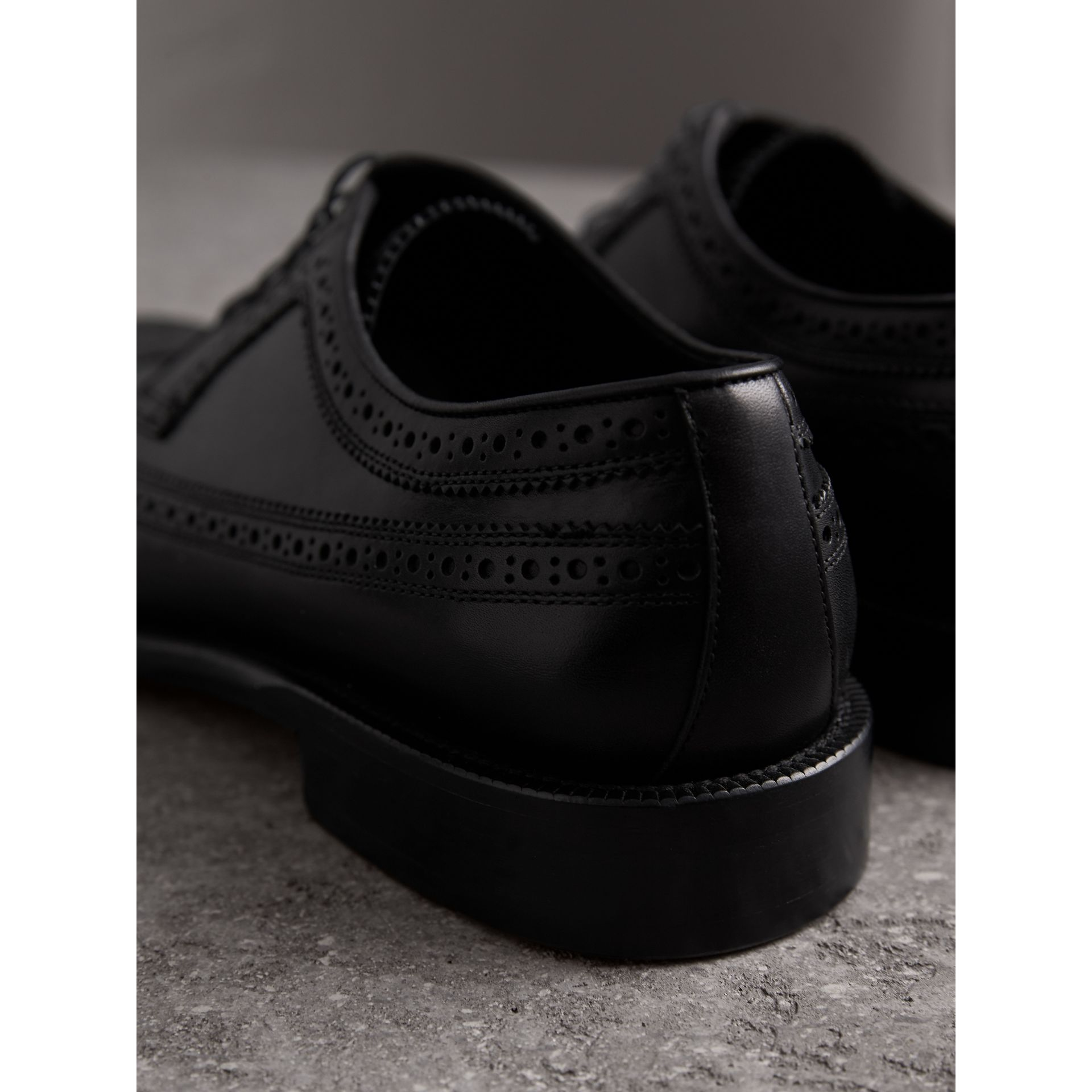Leather Derby Brogues in Black - Men | Burberry - gallery image 3