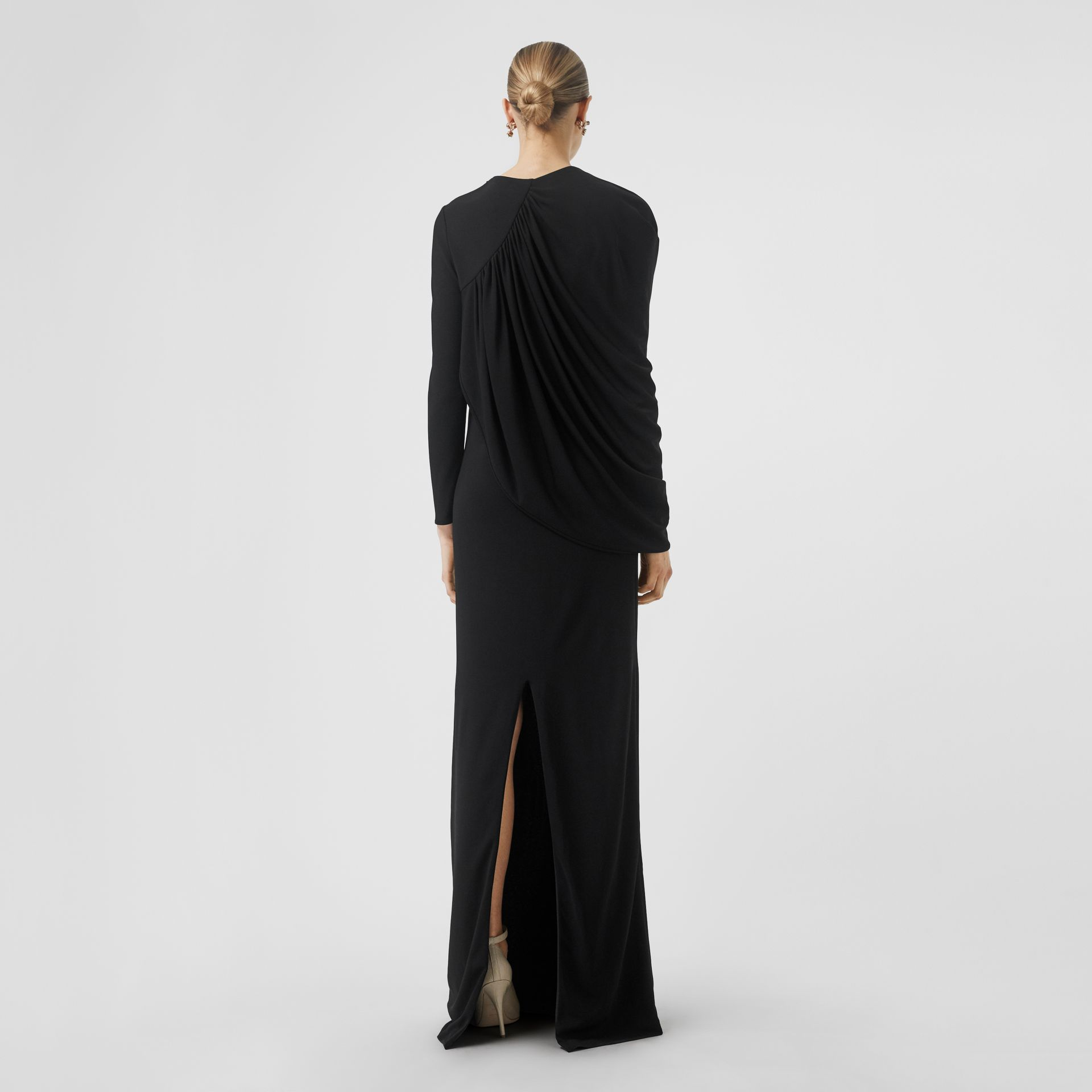 Cape-sleeve Stretch Jersey Gown in Black - Women | Burberry - gallery image 2